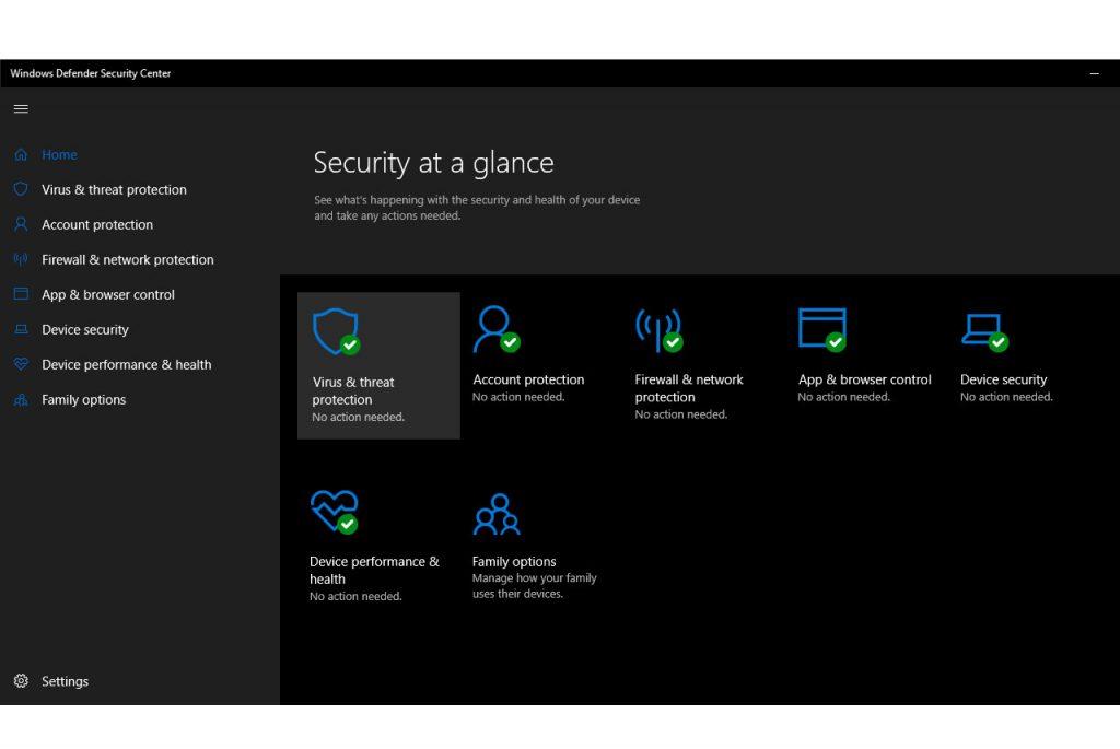 Staying Safe without Antivirus in Windows 10-Green Status