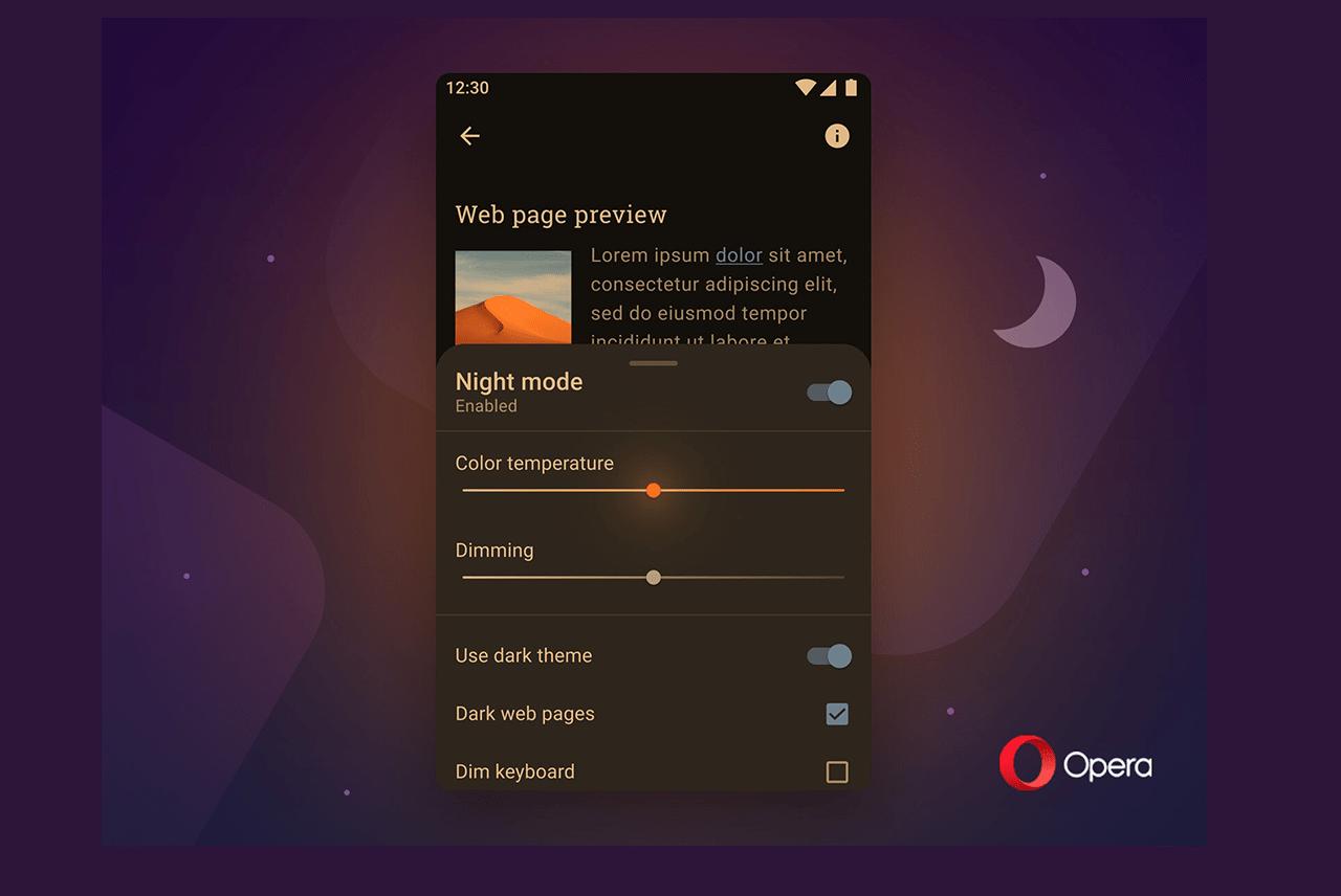 Opera upgrades night mode